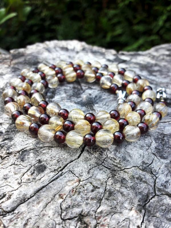Yellow rutile-quartz necklace