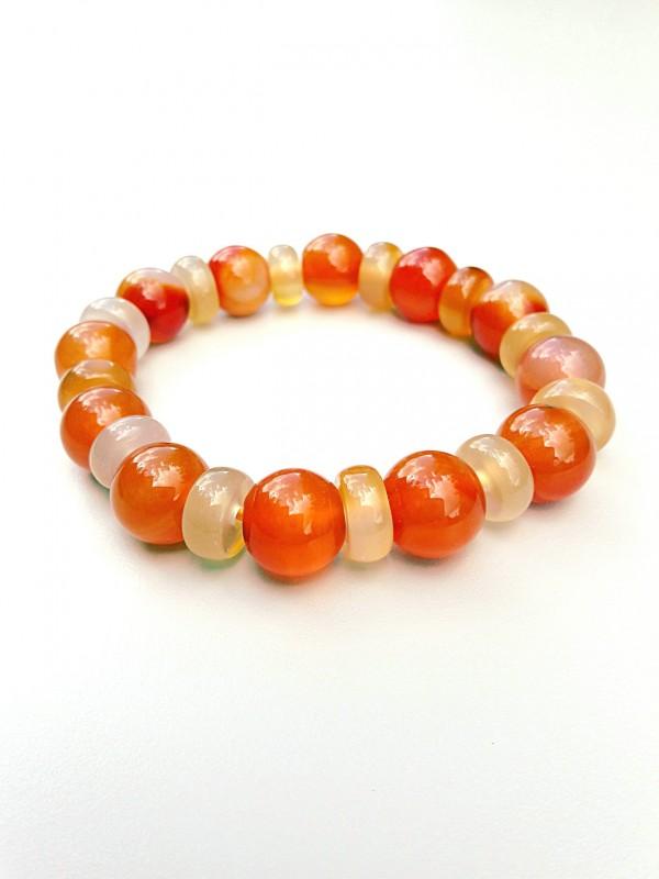 Bracelet in orange carnelian