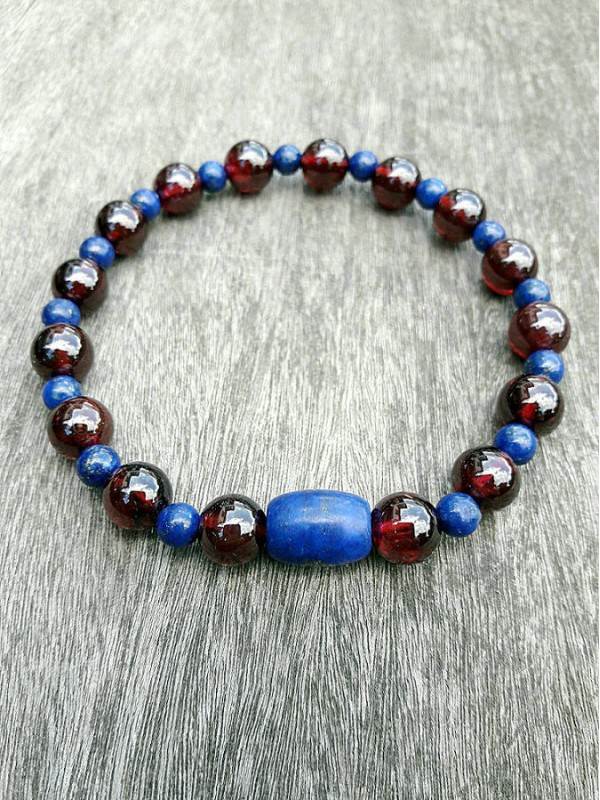 Garnet and Lapis-lazuli bracelet 8mm
