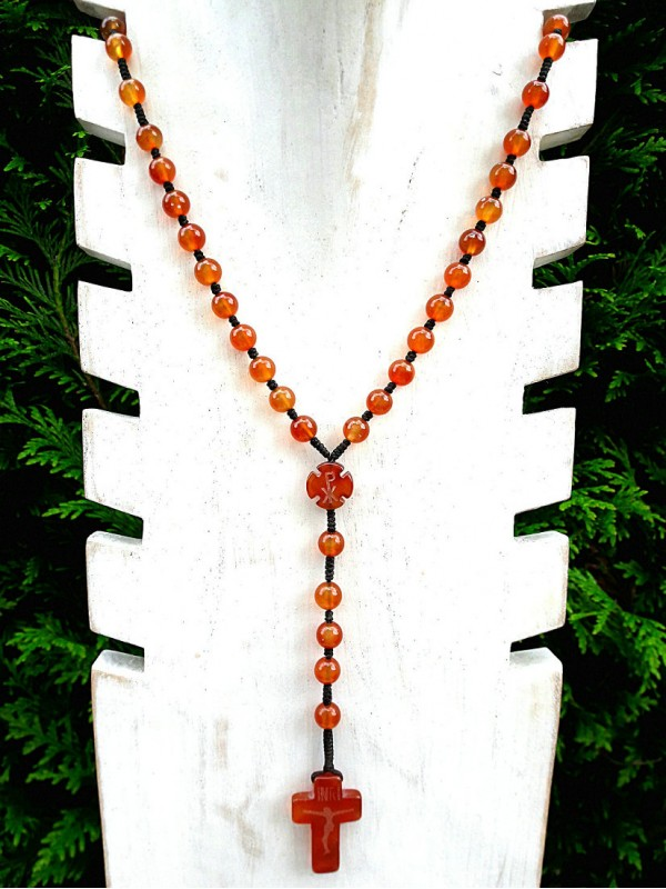 Necklace rosary in red chalcedony