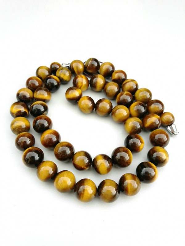 Yellow tiger's eys necklace 10mm