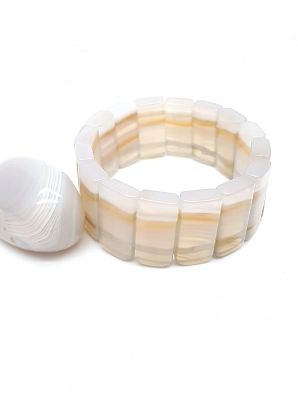 Bracelet en agate blanche rubanée