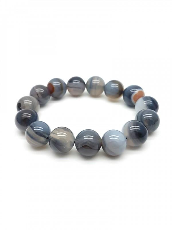 Bracelet en agate grise rubanée