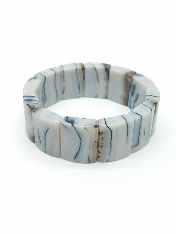 """Bracelet en agate dendritique """"Tigre blanc"""""""